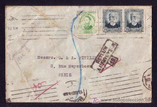 ESPAÑA. (CAT. 664, 665). 1933. SOBRE DE BARCELONA A PARIS. CORREO DEVUELTO. MAGNÍFICA Y RARA. (Sellos - España - II República de 1.931 a 1.939 - Cartas)