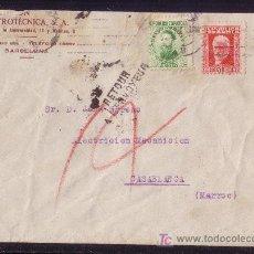 Sellos: ESPAÑA.(CAT. 664, 669).1933. SOBRE DE BARCELONA A MARRUECOS. CORREO DEVUELTO. MUY RARA. MAGNÍFICA.. Lote 25171535
