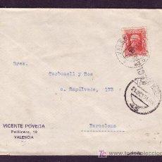 Sellos: ESPAÑA.(CAT.669).1934.SOBRE DE VALENCIA A BARCELONA.MAT.VALENCIA LISTA Y RECLAMADO.RARA.. Lote 25922834
