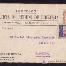 Sellos: ESPAÑA. (CAT. 678, B. Nº1). 1935. T. P. DE IMPRESOS DE VALENCIA. MUY BONITO Y MUY RARO FRANQUEO.. Lote 24492666