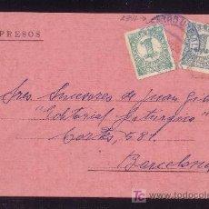 Sellos: ESPAÑA.(CAT.677). 1935. T. P. IMPRESOS DE CASTRO URDIALES (SANTANDER). DOS SELLOS 1 CTMO. MAT. AZUL.. Lote 25472841