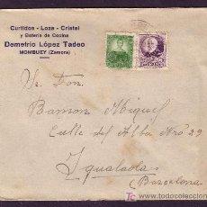 Sellos: ESPAÑA.(CAT. 666, 682). 1935. SOBRE DE MOMBUEY (ZAMORA). FRANQUEO PERSONAJES. MAT. MOMBUEY. BONITA.. Lote 31263838