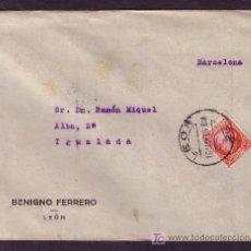 Sellos: ESPAÑA. (CAT. 687).1936. SOBRE DE LEÓN A IGUALADA. 30 C. JOVELLANOS. MAT.*LEON/26*. LLEGADA. LUJO.. Lote 23916560