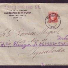 Sellos: ESPAÑA.(CAT.687).1938.SOBRE DE GRANADA A IGUALADA.30 C.JOVELLANOS.MAT.*GRANADA/20*.LLEGADA.MAGNÍFICA. Lote 23851584