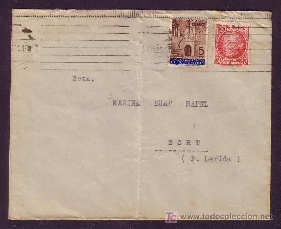 ESPAÑA.(CAT.687,AYTO.13).1936.SOBRE DE BARCELONA A SORT.30 C. JOVELLANOS Y 5 C. AYTO.MUY BONITA. (Sellos - España - II República de 1.931 a 1.939 - Cartas)