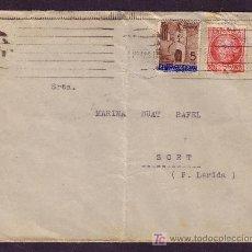 Sellos: ESPAÑA.(CAT.687,AYTO.13).1936.SOBRE DE BARCELONA A SORT.30 C. JOVELLANOS Y 5 C. AYTO.MUY BONITA.. Lote 23838574