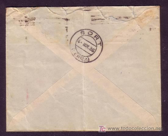 Sellos: DORSO DE LA CARTA CON FECHADOR DE LLEGADA Y OBLEA PUBLICITARIA DEL REMITENTE. - Foto 2 - 23838574