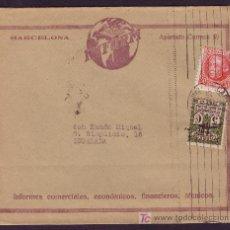 Sellos: ESPAÑA.(CAT.687,AYTO.9).SOBRE PUBLICIDAD DE BARCELONA. MAT. RODILLO DE CARTERIA DE BARCELONA. BONITA. Lote 25677271