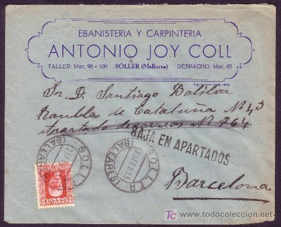 ESPAÑA.(CAT.669).1933.SOBRE DE SOLLER A BARCELONA.30 CTS.MAT.*SOLLER/BALEARES*.BAJA EN APARTADOS.RR (Sellos - España - II República de 1.931 a 1.939 - Cartas)