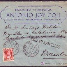 Sellos: ESPAÑA.(CAT.669).1933.SOBRE DE SOLLER A BARCELONA.30 CTS.MAT.*SOLLER/BALEARES*.BAJA EN APARTADOS.RR. Lote 26608997