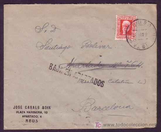 ESPAÑA.(CAT.669).1933.SOBRE PUBLICIDAD DE REUS (TARRAGONA) A BARCELONA.MARCA *BAJA EN APARTADOS*. RR (Sellos - España - II República de 1.931 a 1.939 - Cartas)