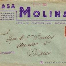 Sellos: ESPAÑA. 1933. SOBRE PUBLICIDAD AUTOMÓVILES DE BARCELONA A BLANES (GERONA). 2 CTS. IMPRESOS. BONITA.. Lote 24972702