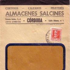 Sellos: ESPAÑA. 1935. SOBRE DE VENTANA CON PUBLICIDAD PIELES Y ZAPATOS DE CÓRDOBA A IGUALADA. MAT. ESTACIÓN. Lote 26521271