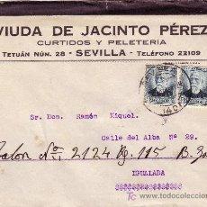 Sellos: ESPAÑA. 1933. SOBRE PUBLICIDAD PELETERÍA DE SEVILLA A IGUALADA. DOS 15 CTS. MAT. SEVILLA. MUY BONITA. Lote 22848709