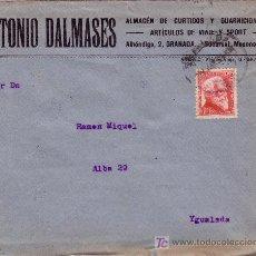 Sellos: ESPAÑA. 1935. SOBRE PUBLICIDAD ARTÍCULOS VIAJE DE GRANADA A IGUALADA. 30 C. AZCÁRATE. LLEGADA. BTA.. Lote 26270640
