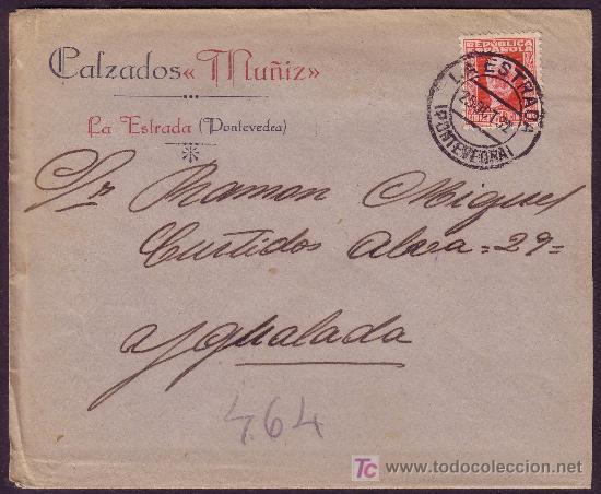 ESPAÑA.(CAT.669).1932.SOBRE D LA ESTRADA A IGUALADA.30 CTS.MAT.*LA ESTRADA/PONTEVEDRA*.LLEGADA.LUJO. (Sellos - España - II República de 1.931 a 1.939 - Cartas)