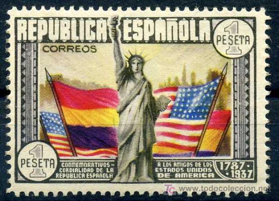 763* - CL ANIV. CONSTITUCION EE.UU. 1938 (NUEVO CON CHARNELA) (Sellos - España - II República de 1.931 a 1.939 - Nuevos)