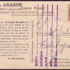 Selos: ESPAÑA.(CAT.662).T.P.PUBLICIDAD *HOTEL ARAGÓN* DE MADRID.2 CTS.MAT.PRIVADO *E.SANCHEZ/ZARAGOZA*.RR.. Lote 27118034