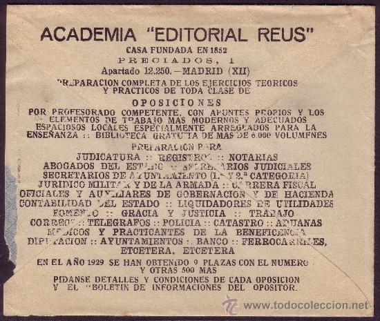 ESPAÑA. (CAT. 687). 1935. SOBRE DE PUBLICIDAD * ACADEMIA EDITORIAL REUS * DE MADRID. 30 CTS. RARO. (Sellos - España - II República de 1.931 a 1.939 - Cartas)