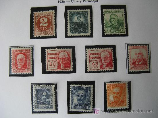1936/38 CIFRA Y PERSONAJES. EDIFIL 731/40 (Sellos - España - II República de 1.931 a 1.939 - Nuevos)