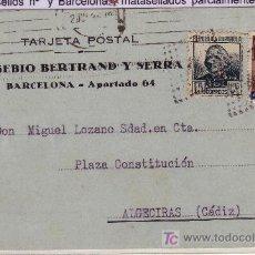 Sellos: TARJETA POSTAL COMERCIAL DE BARCELONA A ALGECIRAS, FRANQUEADA CON SELLO 684 Y BARCELONA 43.. Lote 22003633