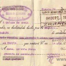 Sellos: ESPAÑA. HUESCA. 1936. LETRA DE CAMBIO REINTEGRADA CON DOS SELLOS FISCALES. MAGNÍFICA.. Lote 24130282