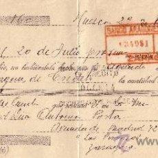 Sellos: ESPAÑA. HUESCA. 1934. LETRA DE CAMBIO REINTEGRADA CON DOS SELLOS FISCALES. MAGNÍFICA.. Lote 24130274