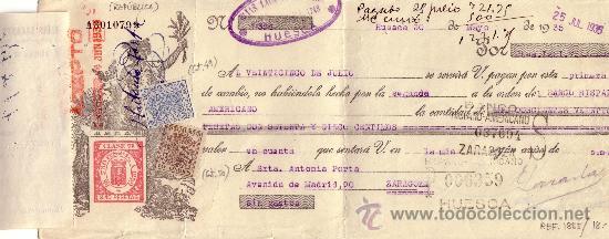 HUESCA. 1935. LETRA DE CAMBIO REINTEGRADA CON DOS SELLOS FISCALES Y AVISO DE GIRO. MAGNÍFICA Y RARA. (Sellos - España - II República de 1.931 a 1.939 - Cartas)