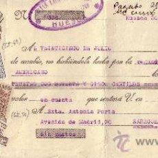 Sellos: HUESCA. 1935. LETRA DE CAMBIO REINTEGRADA CON DOS SELLOS FISCALES Y AVISO DE GIRO. MAGNÍFICA Y RARA.. Lote 24130290