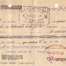 Sellos: BARCELONA. 1939. LETRA DE CAMBIO REINTEGRADA CON DOS SELLOS FISCALES CON MARCA ZARAGOZA. BONITA.RARA. Lote 24246039