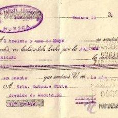 Sellos: ESPAÑA. HUESCA. 1935. LETRA DE CAMBIO REINTEGRADA CON SELLO FISCAL. MUY BONITA.. Lote 24130265