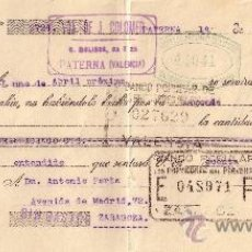 Sellos: ESPAÑA. PATERNA (VALENCIA). 1934. LETRA DE CAMBIO REINTEGRADA CON SELLO FISCAL. MAGNÍFICA.. Lote 22923865