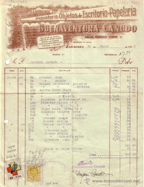 (GÁLVEZ 16). ZARAGOZA.1939. FACTURA PUBLICITARIA REINTEGRADA VIÑETA FRENTE HOSPITALES Y FISCALES.RR. (Sellos - España - II República de 1.931 a 1.939 - Cartas)