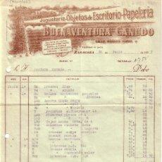 Sellos: (GÁLVEZ 16). ZARAGOZA.1939. FACTURA PUBLICITARIA REINTEGRADA VIÑETA FRENTE HOSPITALES Y FISCALES.RR.. Lote 27441183