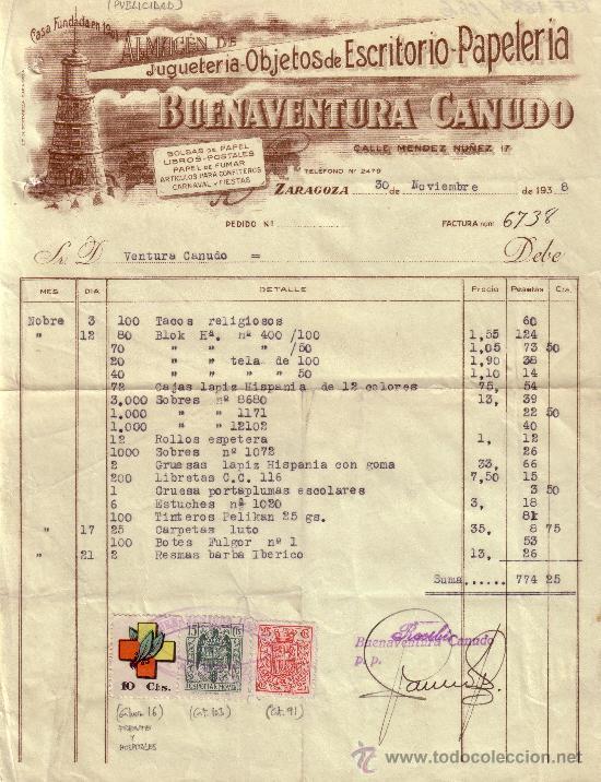 (GÁLVEZ 16).ZARAGOZA.1938.FACTURA PUBLICITARIA REINTEGRADA VIÑETA FRENTE HOSPITALES Y 2 FISCALES.RR. (Sellos - España - II República de 1.931 a 1.939 - Cartas)