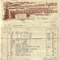 Sellos: (GÁLVEZ 16).ZARAGOZA.1938.FACTURA PUBLICITARIA REINTEGRADA VIÑETA FRENTE HOSPITALES Y 2 FISCALES.RR.. Lote 27465669