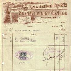 Sellos: ZARAGOZA. 1939. FACTURA PUBLICITARIA REINTEGRADA CON SELLO FISCAL. MAGNÍFICA.. Lote 27441296