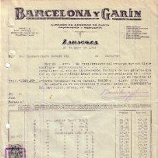 Sellos: ZARAGOZA. 1939. FACTURA REINTEGRADA CON DOS SELLOS FISCALES. MAGNÍFICA.. Lote 24114294