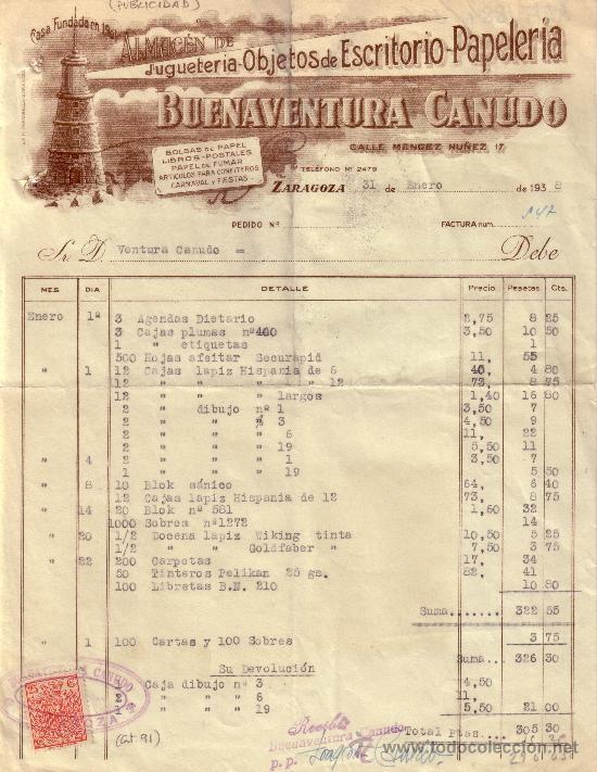 ZARAGOZA. 1938. FACTURA PUBLICITARIA REINTEGRADA CON SELLO FISCAL. MAGNÍFICA Y RARA. (Sellos - España - II República de 1.931 a 1.939 - Cartas)
