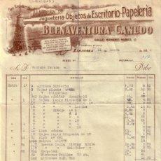 Sellos: ZARAGOZA. 1938. FACTURA PUBLICITARIA REINTEGRADA CON SELLO FISCAL. MAGNÍFICA Y RARA.. Lote 24087936