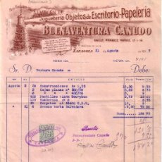 Sellos: ESPAÑA. ZARAGOZA. 1937. FACTURA PUBLICITARIA REINTEGRADA CON SELLO FISCAL. MAGNÍFICA Y RARA.. Lote 23478083