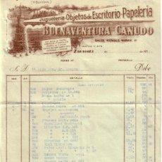Sellos: ZARAGOZA. FACTURA PUBLICITARIA REINTEGRADA CON TRES SELLOS FISCALES. MAGNÍFICA Y RARA.. Lote 24517438