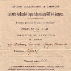 Sellos: ESPAÑA. ZARAGOZA. 1934. SOLICITUD DE MATRICULA REINTEGRADA CON SELLO FISCAL. MAGNÍFICA.. Lote 24149079