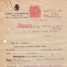 Sellos: ESPAÑA. ZARAGOZA. 1939. DOCUMENTO BANCARIO REINTEGRADO CON SELLO FISCAL. MAGNÍFICO.. Lote 24149062