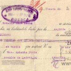 Sellos: ESPAÑA. HUESCA. 1936. LETRA DE CAMBIO REINTEGRADA CON SELLO FISCAL. MAGNÍFICA.. Lote 24654456