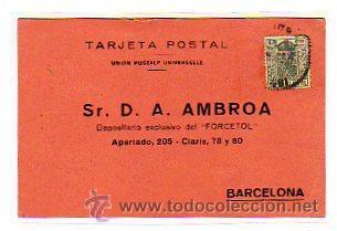 TARJETA POSTAL COMERCIAL CIRCULADA CON TIMBRE MOVIL. 15 CTS. MATASELLO CUENCA. FARMACIA. (Sellos - España - II República de 1.931 a 1.939 - Usados)