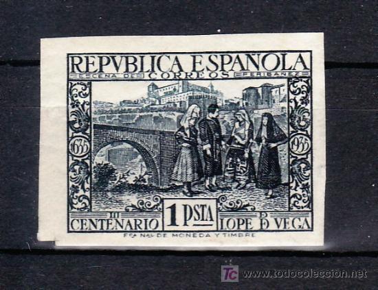 ESPAÑA 693S SIN DENTAR SIN CHARNELA, III CENTENARIO DE LA MUERTE DE LOPE DE VEGA, (Sellos - España - II República de 1.931 a 1.939 - Usados)