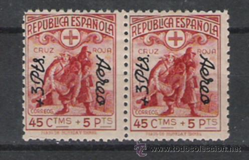 REPUBLICA ESPAÑOLA PRECIOSA PAREJA DE LA SERIE NUEVA SOBRECARGADA DE 1938 CRUZ ROJA ESPAÑOLA (Sellos - España - II República de 1.931 a 1.939 - Usados)