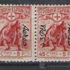 Sellos: REPUBLICA ESPAÑOLA PRECIOSA PAREJA DE LA SERIE NUEVA SOBRECARGADA DE 1938 CRUZ ROJA ESPAÑOLA . Lote 27324608