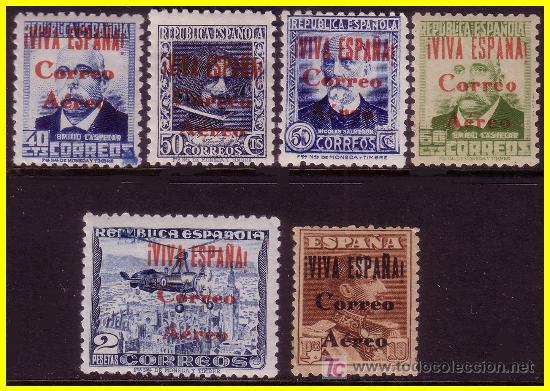1937 EMISIONES LOCALES PATRIÓTICAS BURGOS EDIFIL Nº 68 A 72 * * 73 * (Sellos - España - II República de 1.931 a 1.939 - Nuevos)